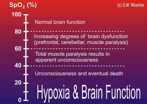 These effects of hypoxia are related to the degree of saturation of  hemoglobin with oxygen for people with normal hemoglobin concentration and  cardiac ...